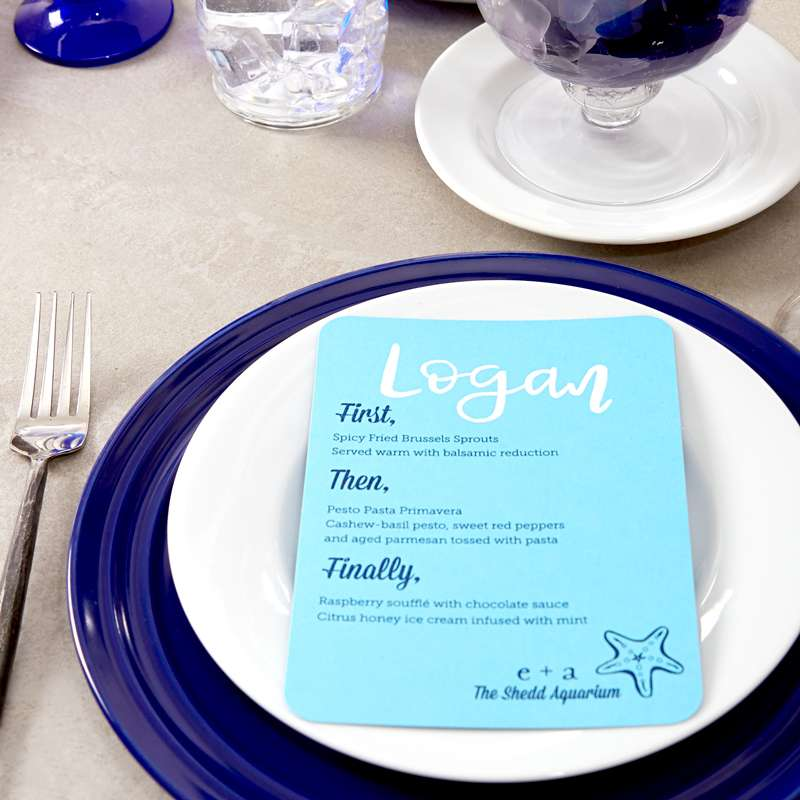 ocean themed or ocean destination wedding supplies like custom wedding menus