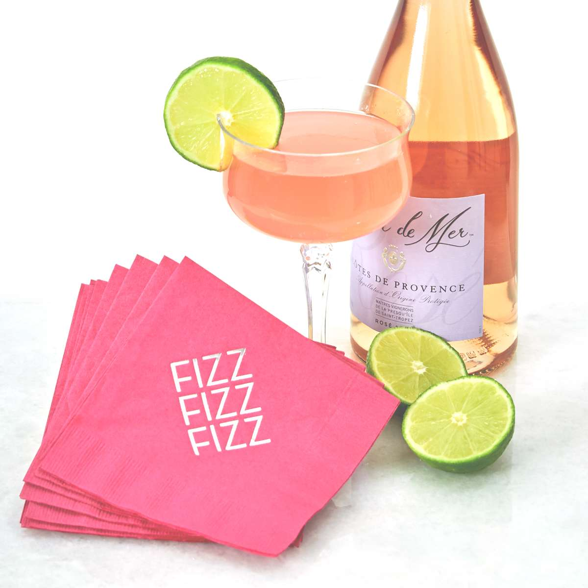 Rosè Cosmo cocktail recipe with personalized cocktail napkin