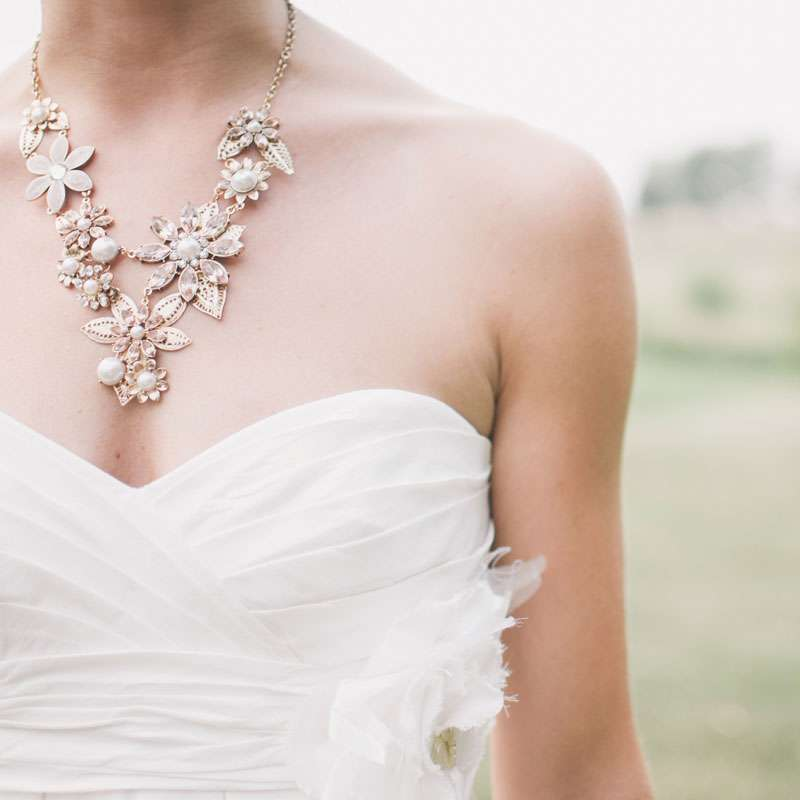 Bride with Floral Pearl Necklace