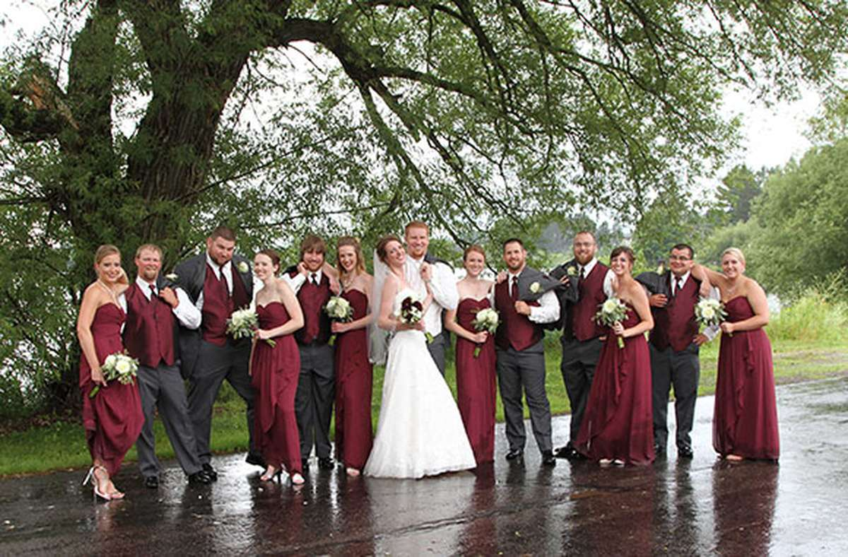 Wedding Party in the Rain Burgundy Bridesmaids Dresses