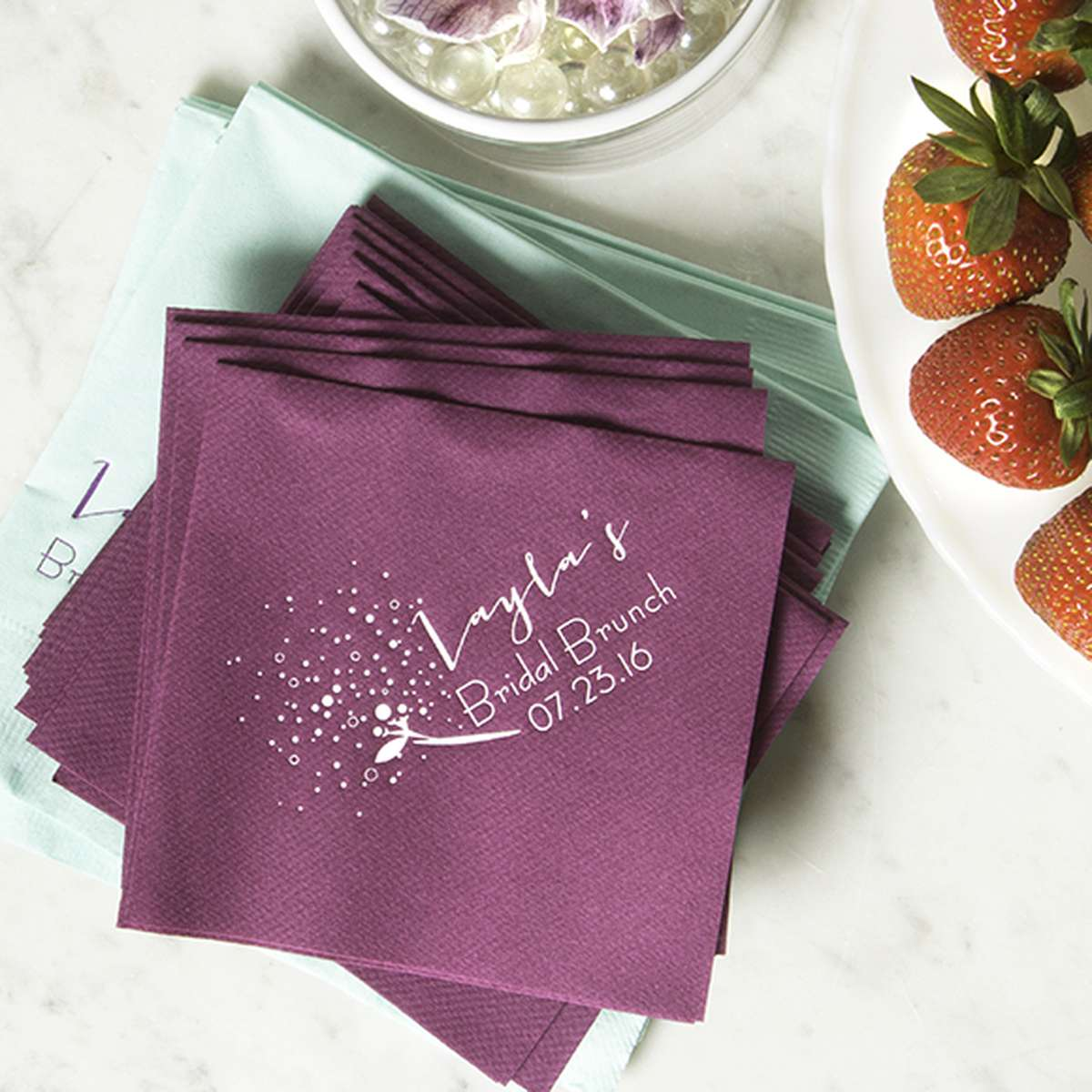 Linen Like Personalized Cocktail Napkins