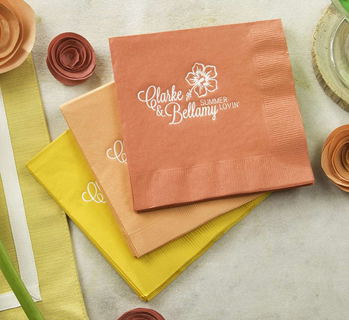 Summer Wedding personalized cocktail napkins