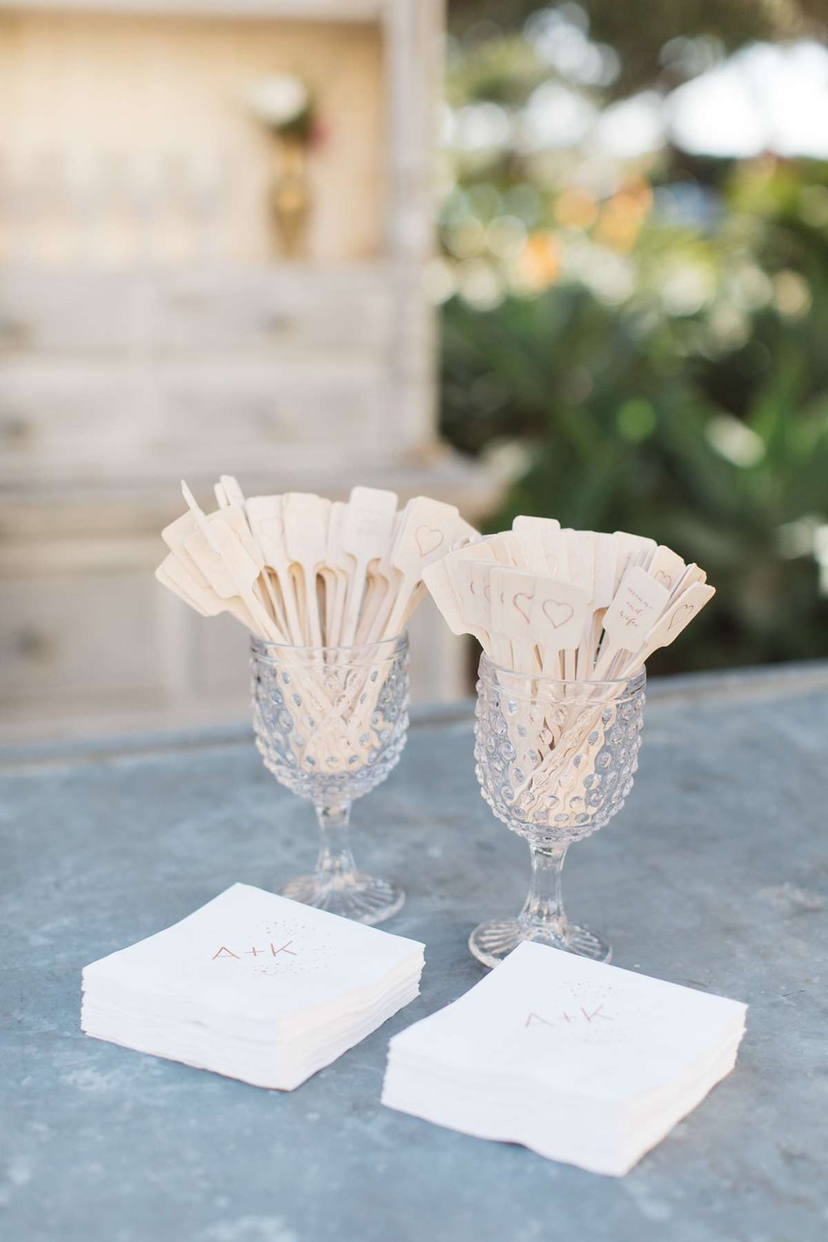 Bachelorette Ali Fedotowsky and Kevin Manno Wedding Personalized Cocktail Napkins and Drink Stirrers