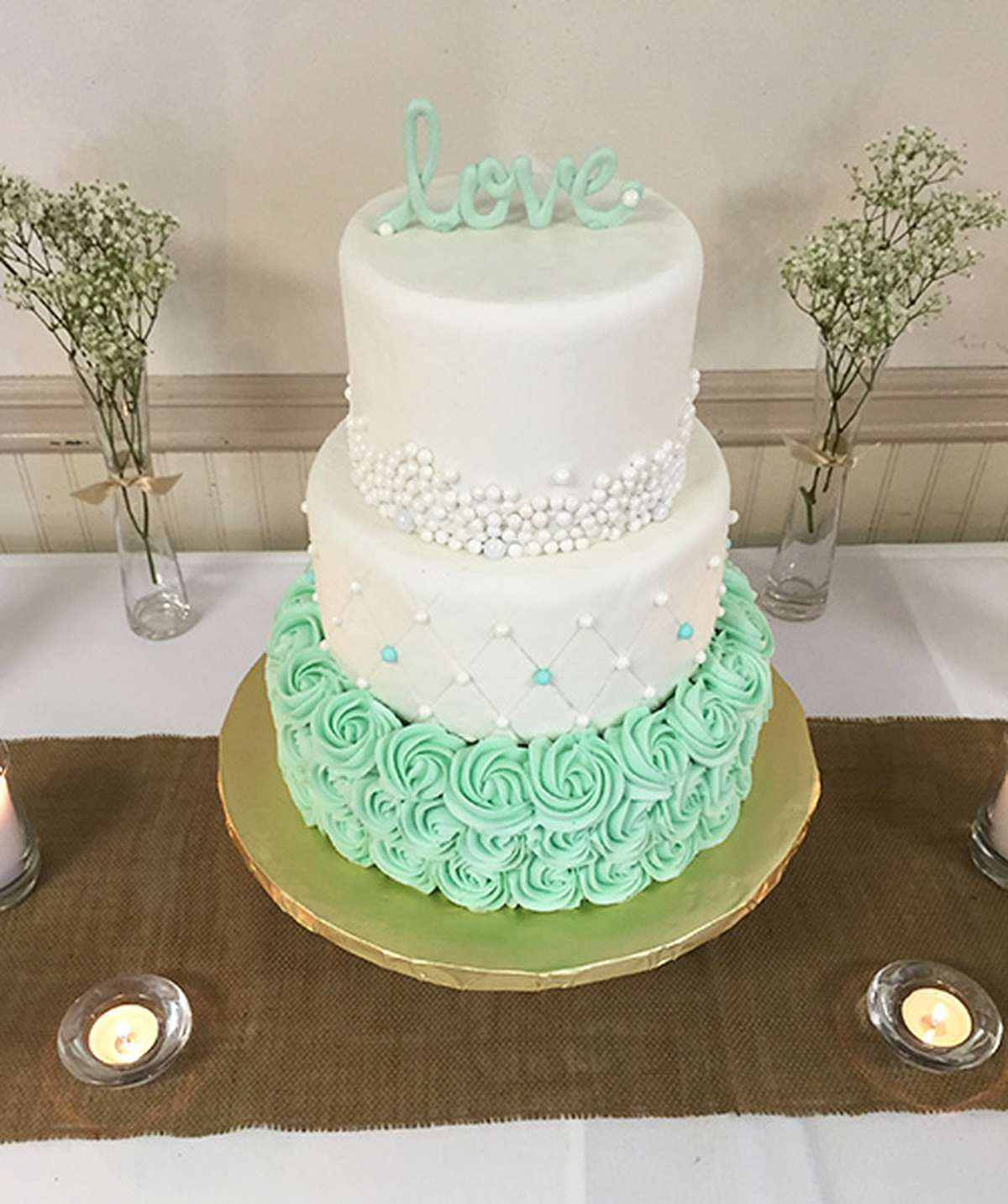 White and Mint Wedding Cake