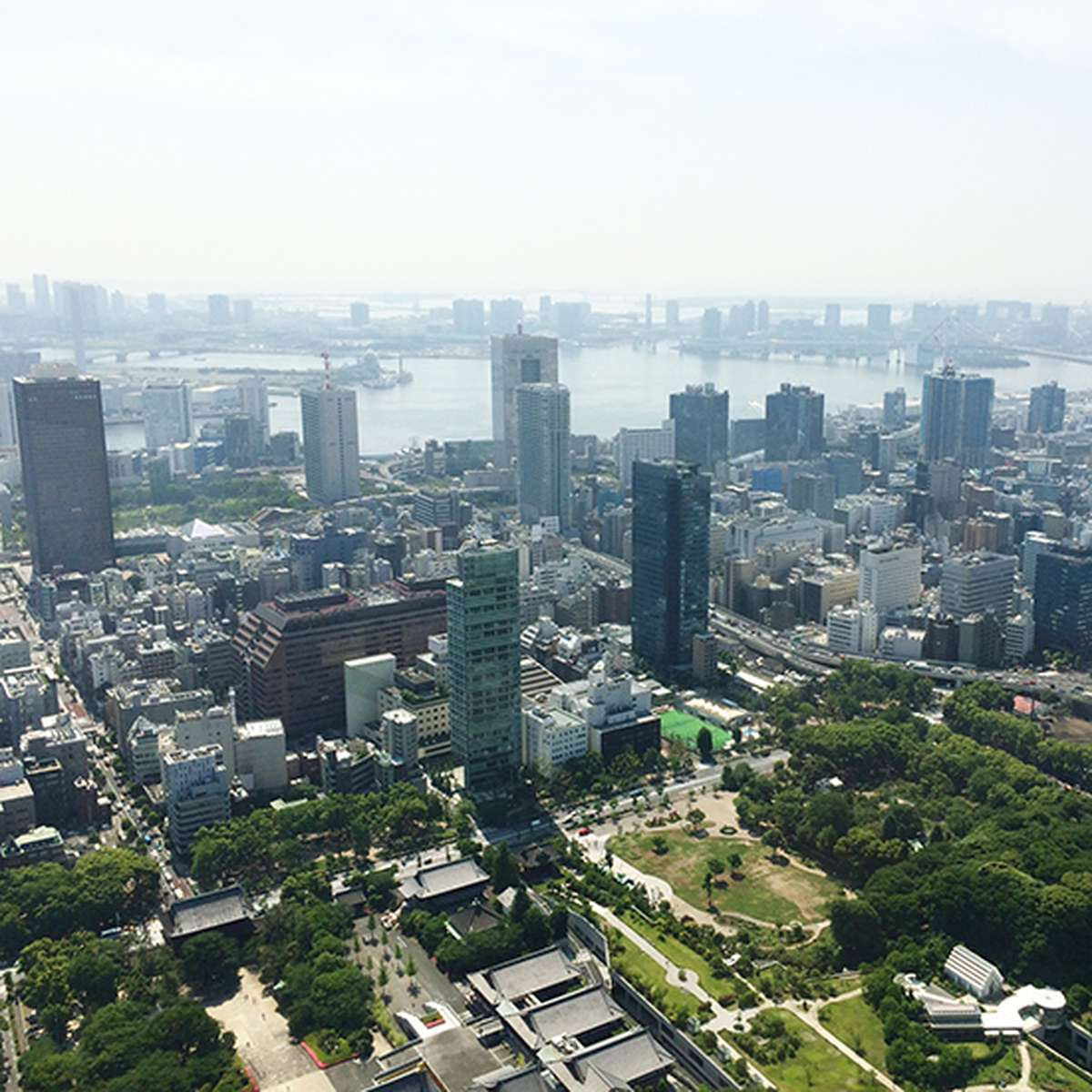 a south-eastern view of downtown Tokyo from on top of Tokyo Tower