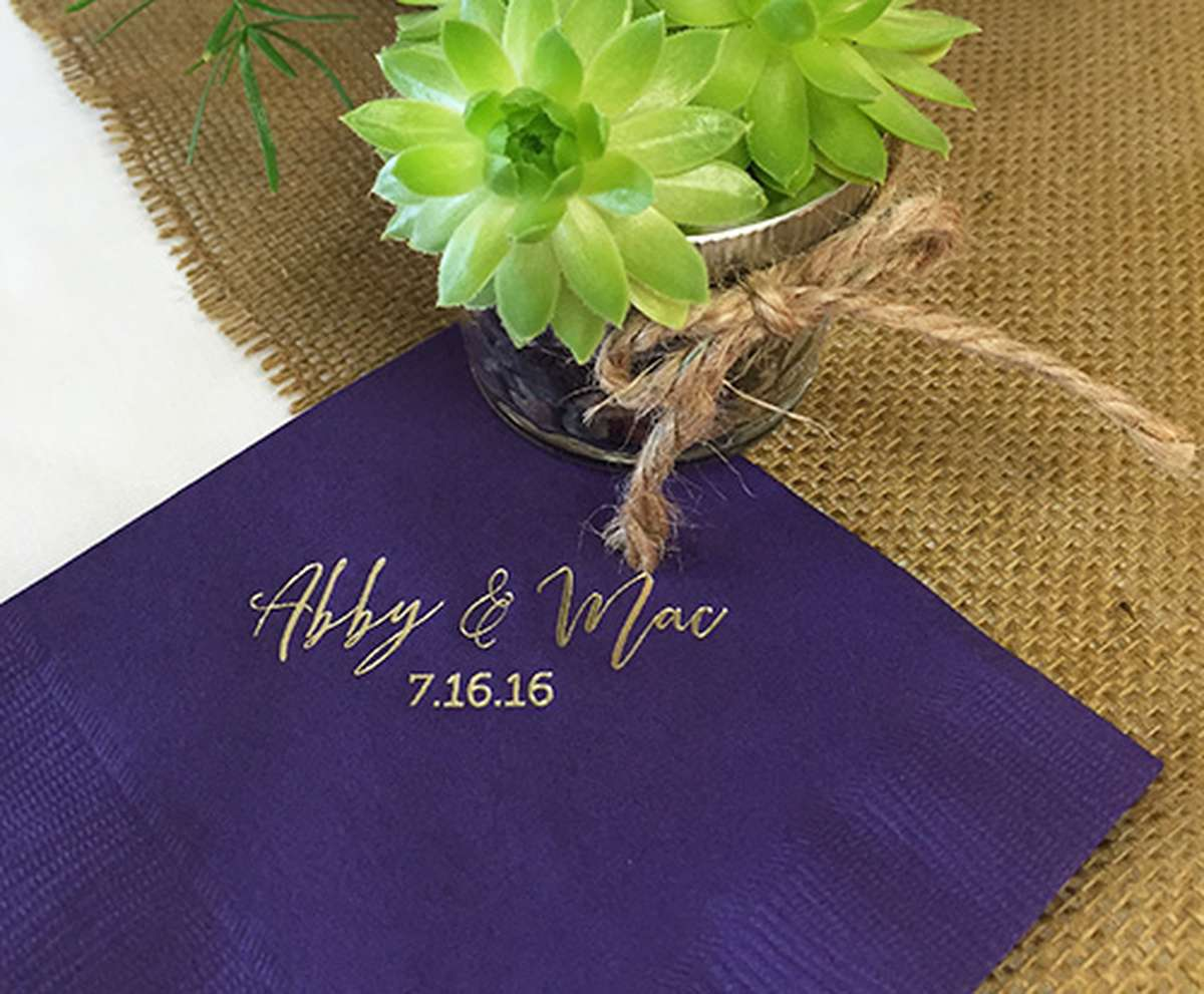 Personalized Wedding Napkin with succulent favor