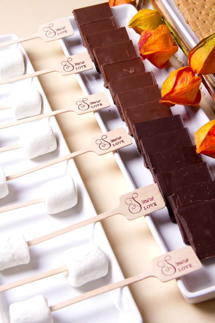 S'mores marshmallows and chocolate with personalized food skewer