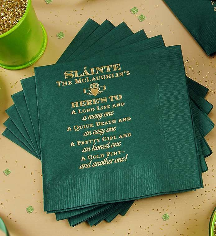 Personalized Cocktail Napkin with Irish Blessing for St. Patrick's Day
