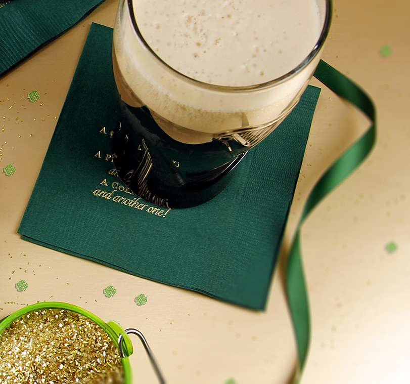 Guinness with Personalized Cocktail Napkin for St. Patrick's Day