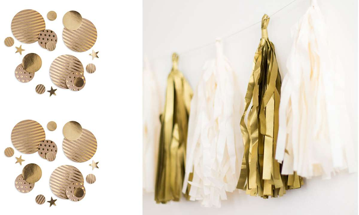 Gold Tassel banner and gold confetti