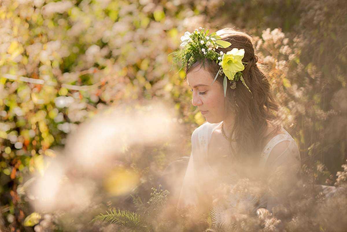 Fall Wedding with Flower Crown