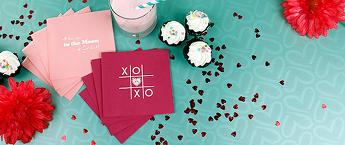 Customized Cocktail Napkins with Valentine's Day Treats
