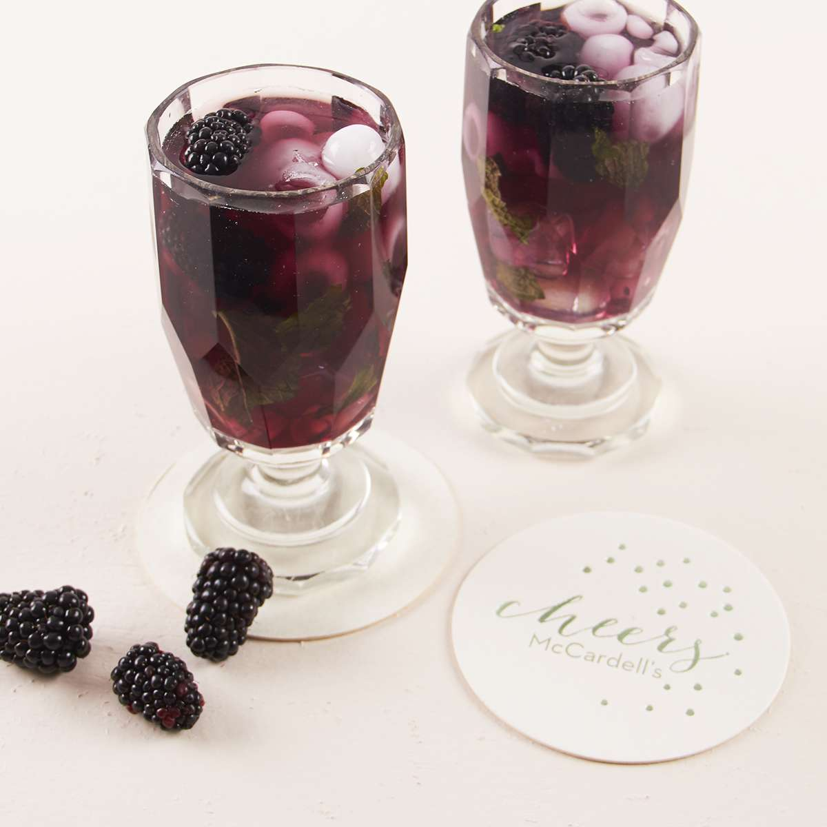 blackberry basil cocktail with custom coaster