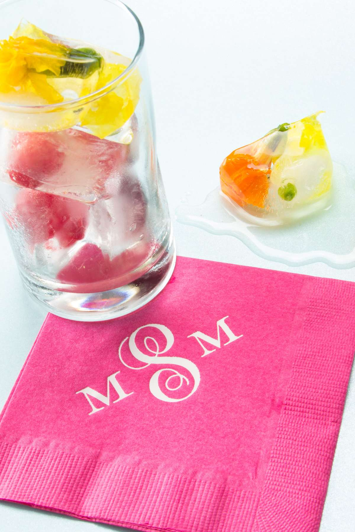 Fruit in ice for cocktails with Personalized Cocktail Napkin