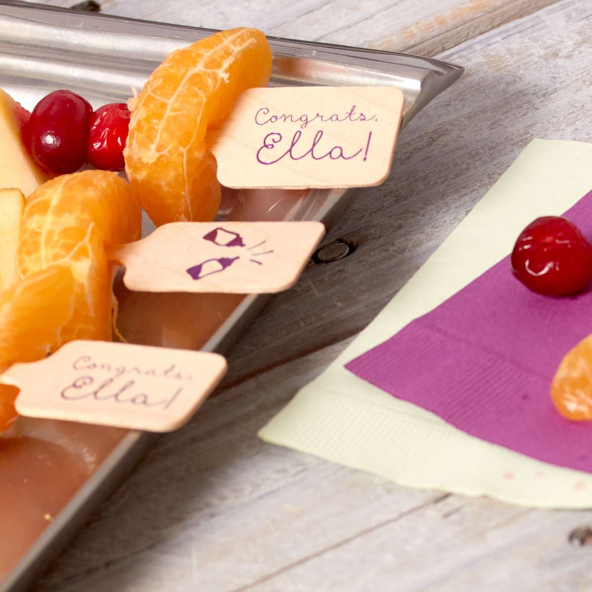 personalized stir sticks used for fruit kebobs