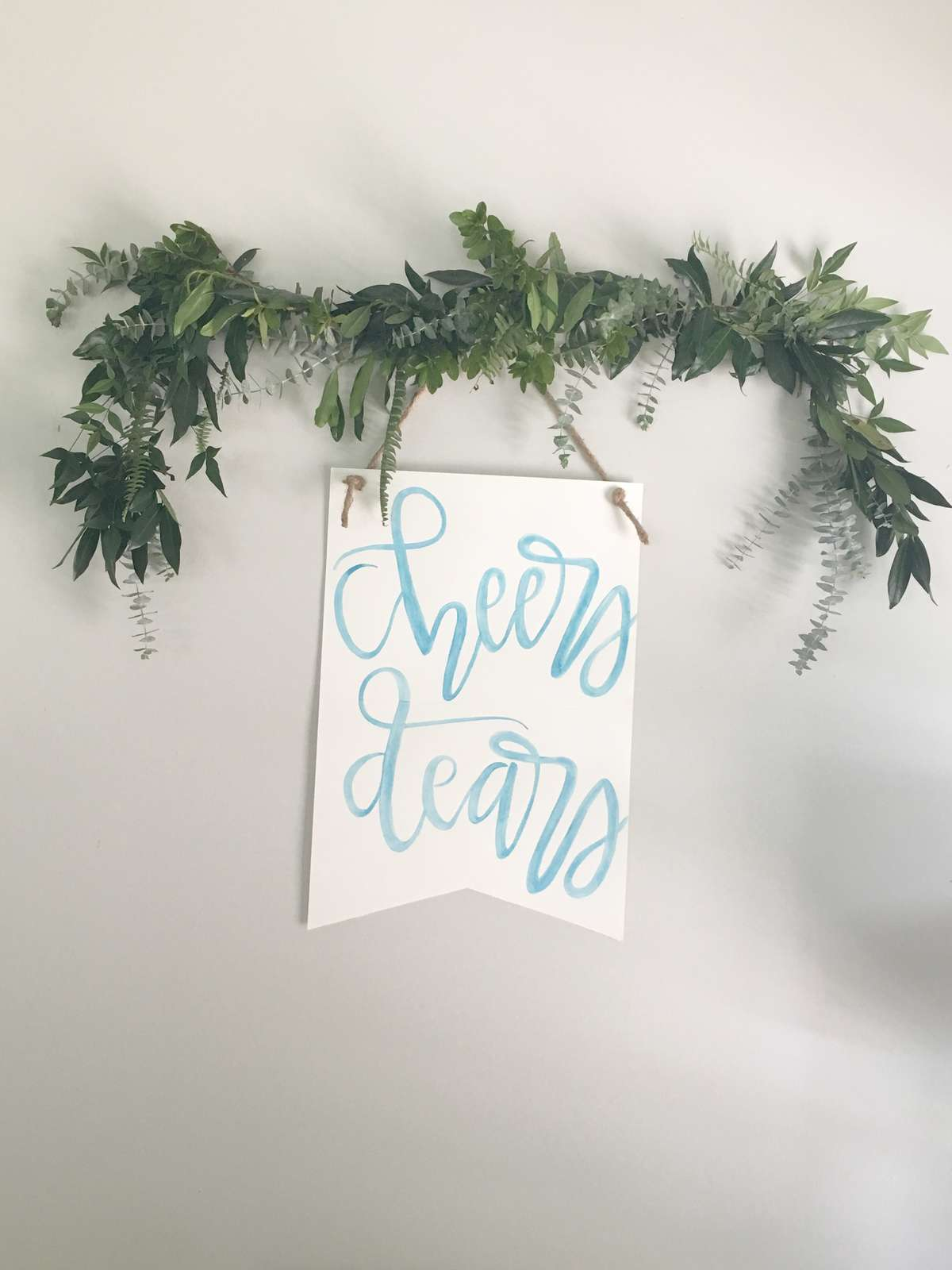 watercolor banner with DIY garland