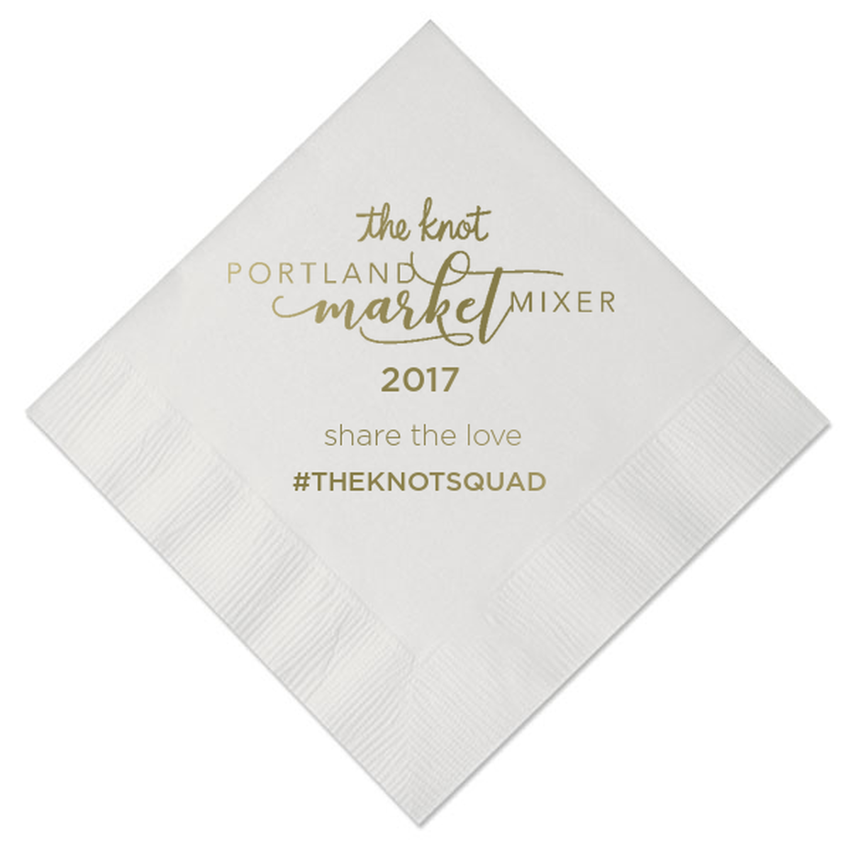 custom cocktail napkins with gold foil and script font