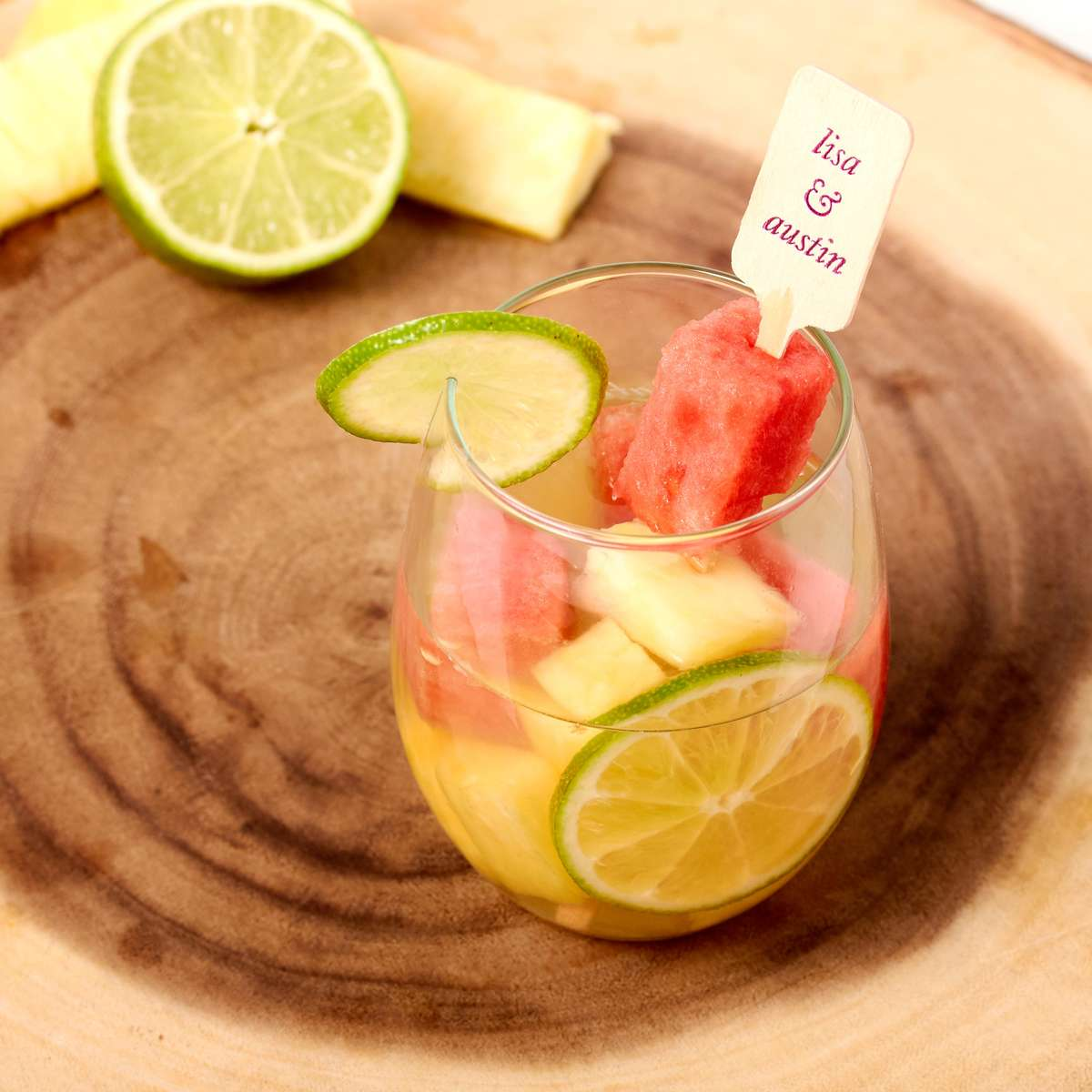 summer sangria with foil stamped personalized drink stirrer