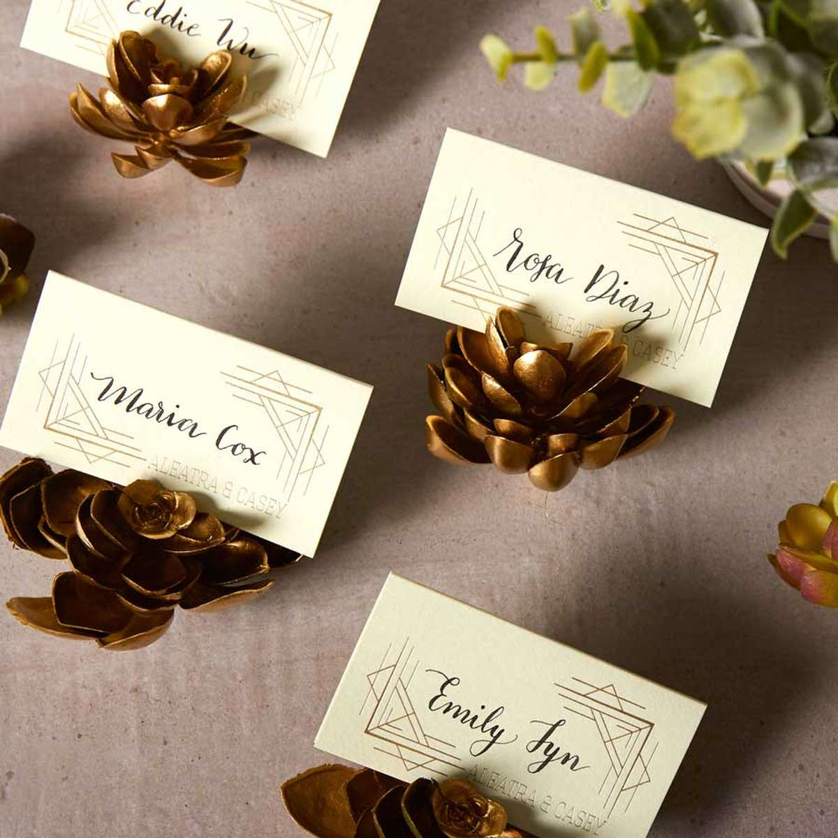 gold succulents for place cards