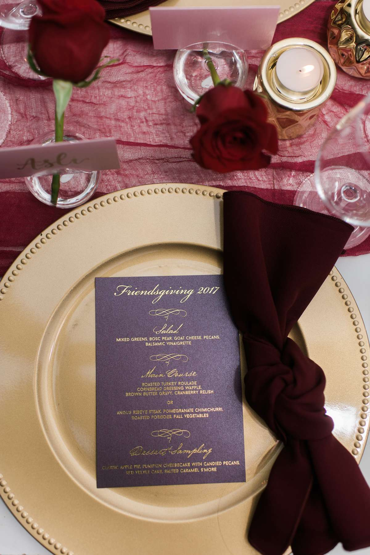 maroon dinner dinner with gold charger