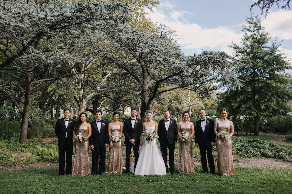 black tie bridal party with sequined bridesmaid dresses
