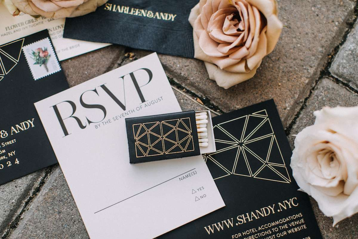 modern black tie wedding with personalized matches and personalized cocktail napkins