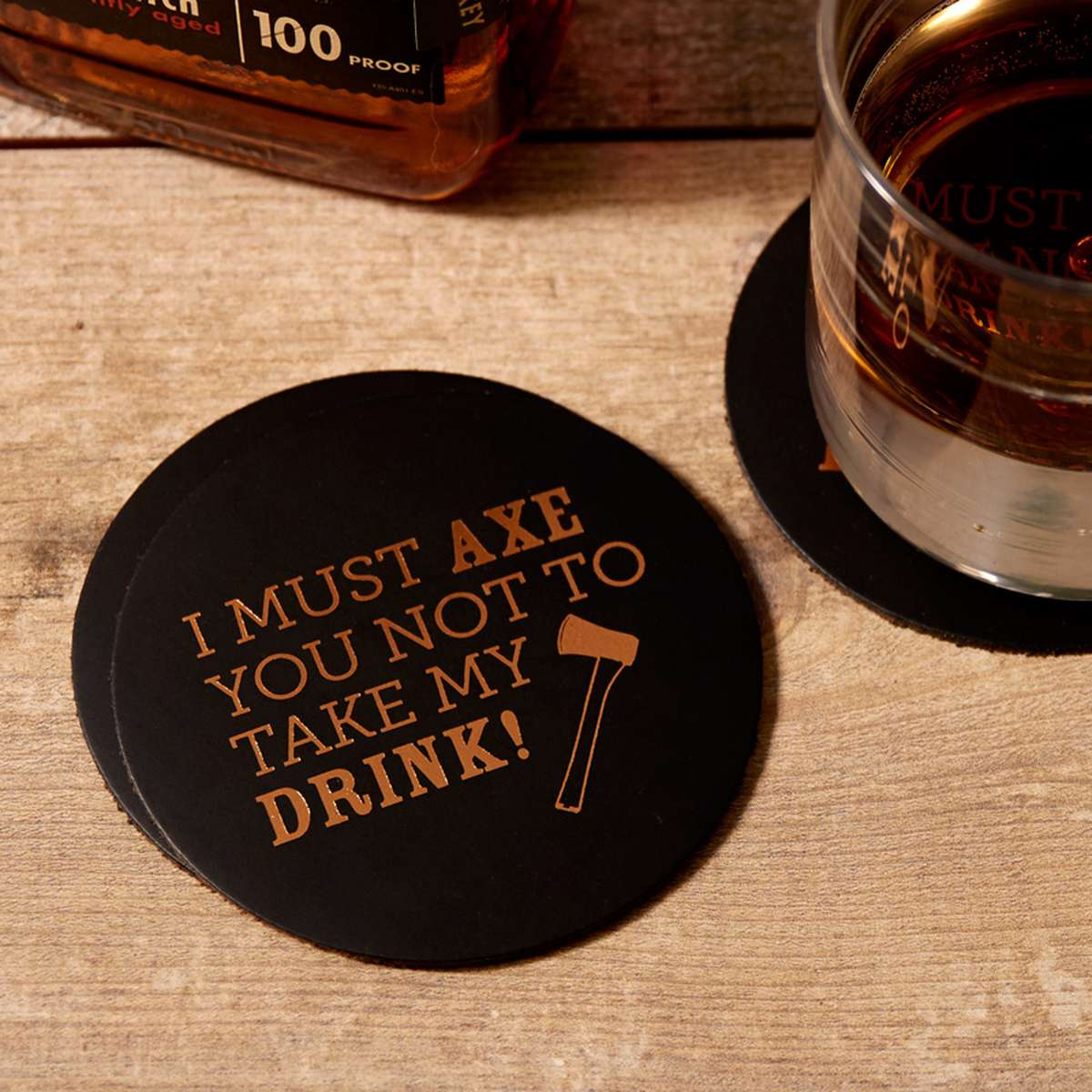custom leather coasters with foil stamped pun