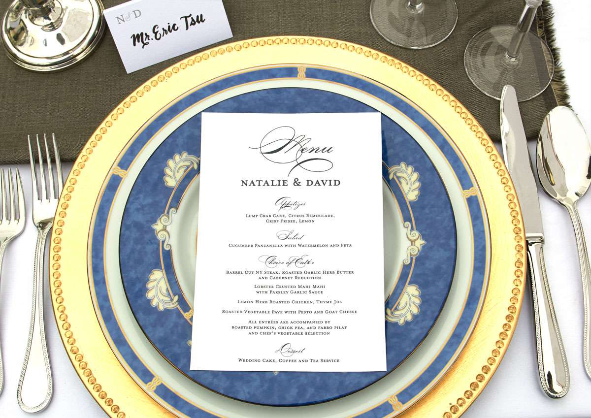 wedding tablescape with menus