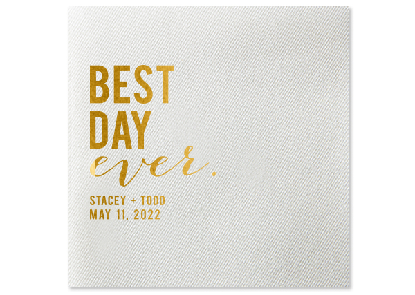 best day ever personalized cocktail napkin