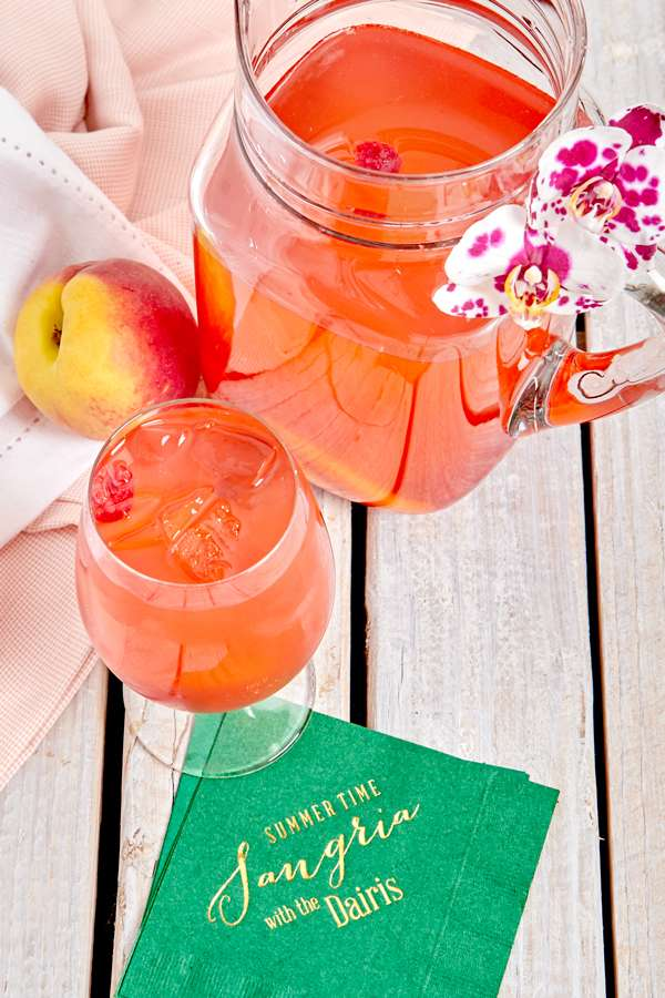 Rosè Peach Sangria with personalized cocktail napkin