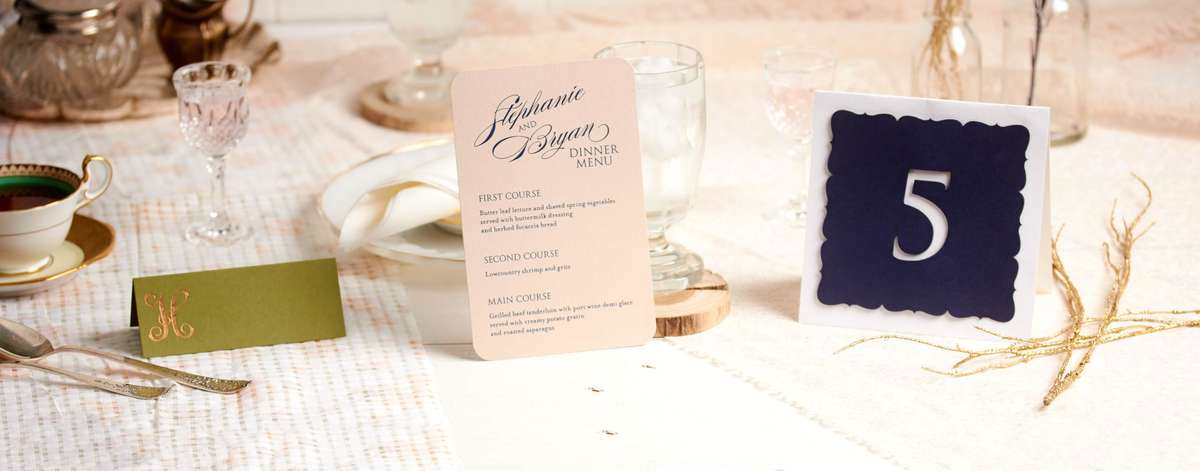 custom menus, custom wedding place cards, custom votive candles
