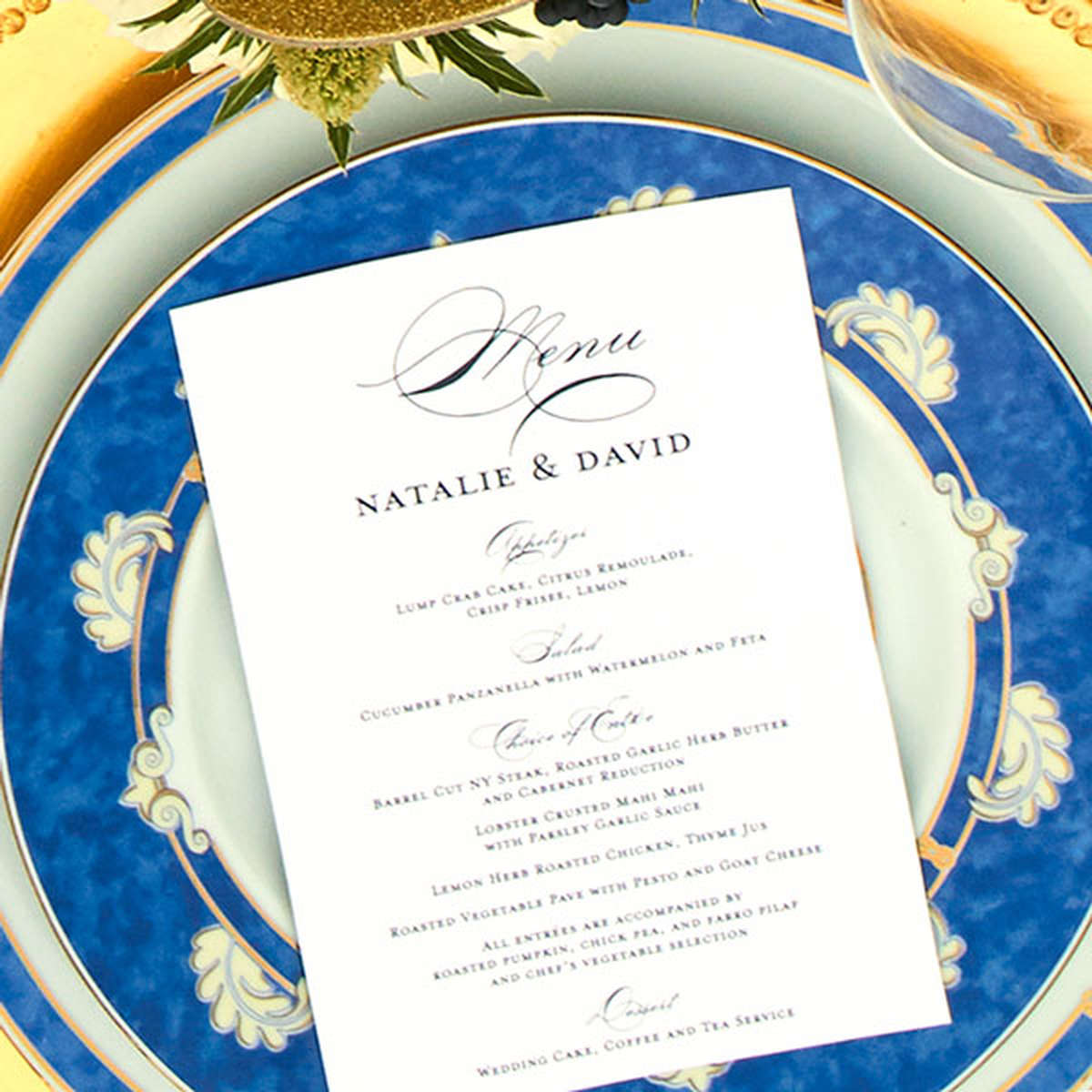 personalized wedding menu