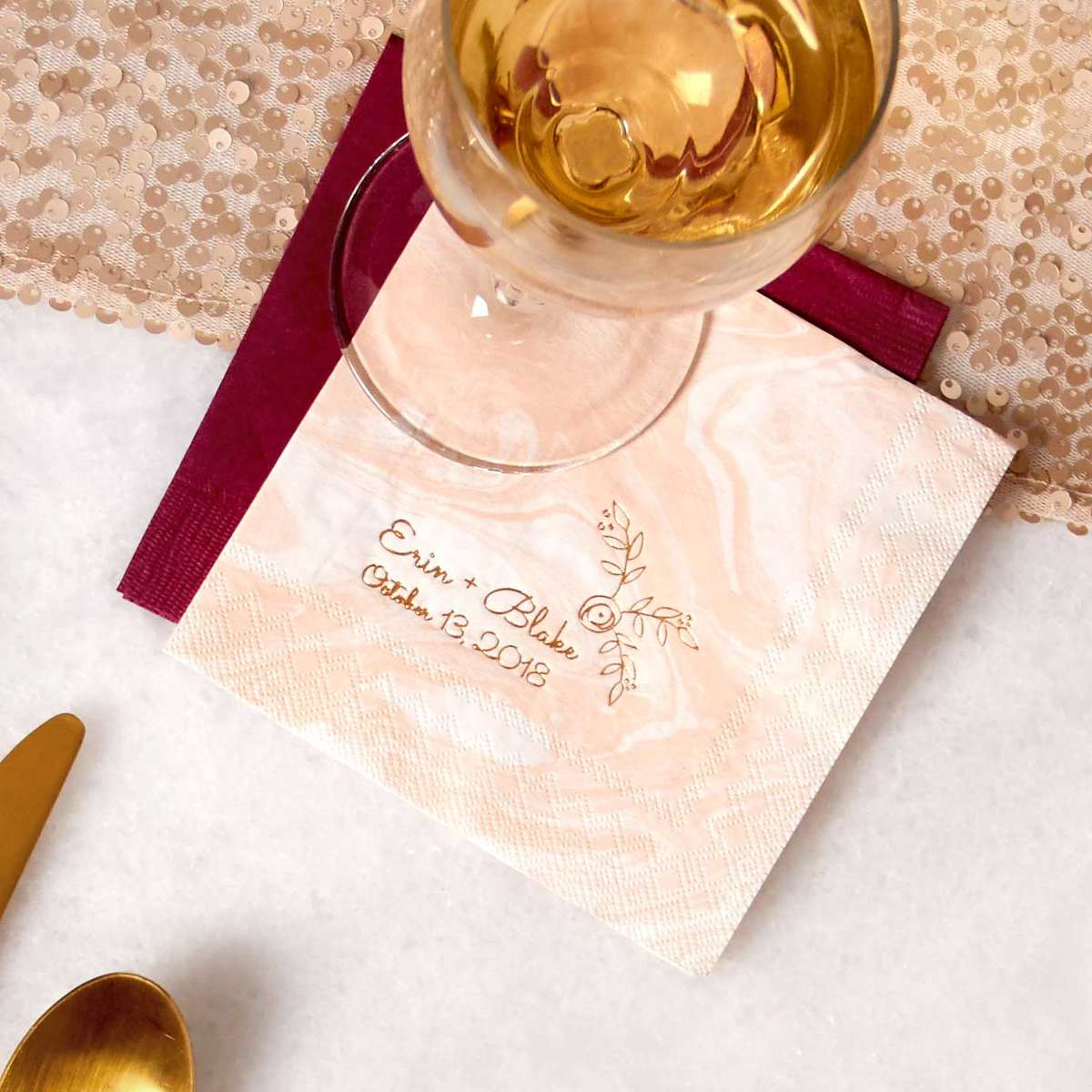 personalized marble cocktail napkins