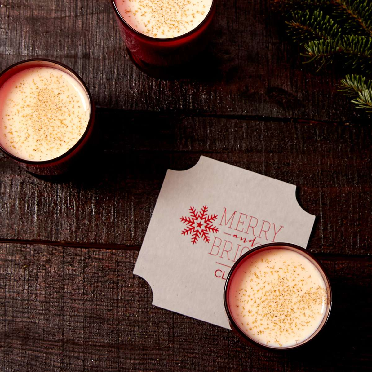 classic egg nog with bourbon recipe with custom coasters