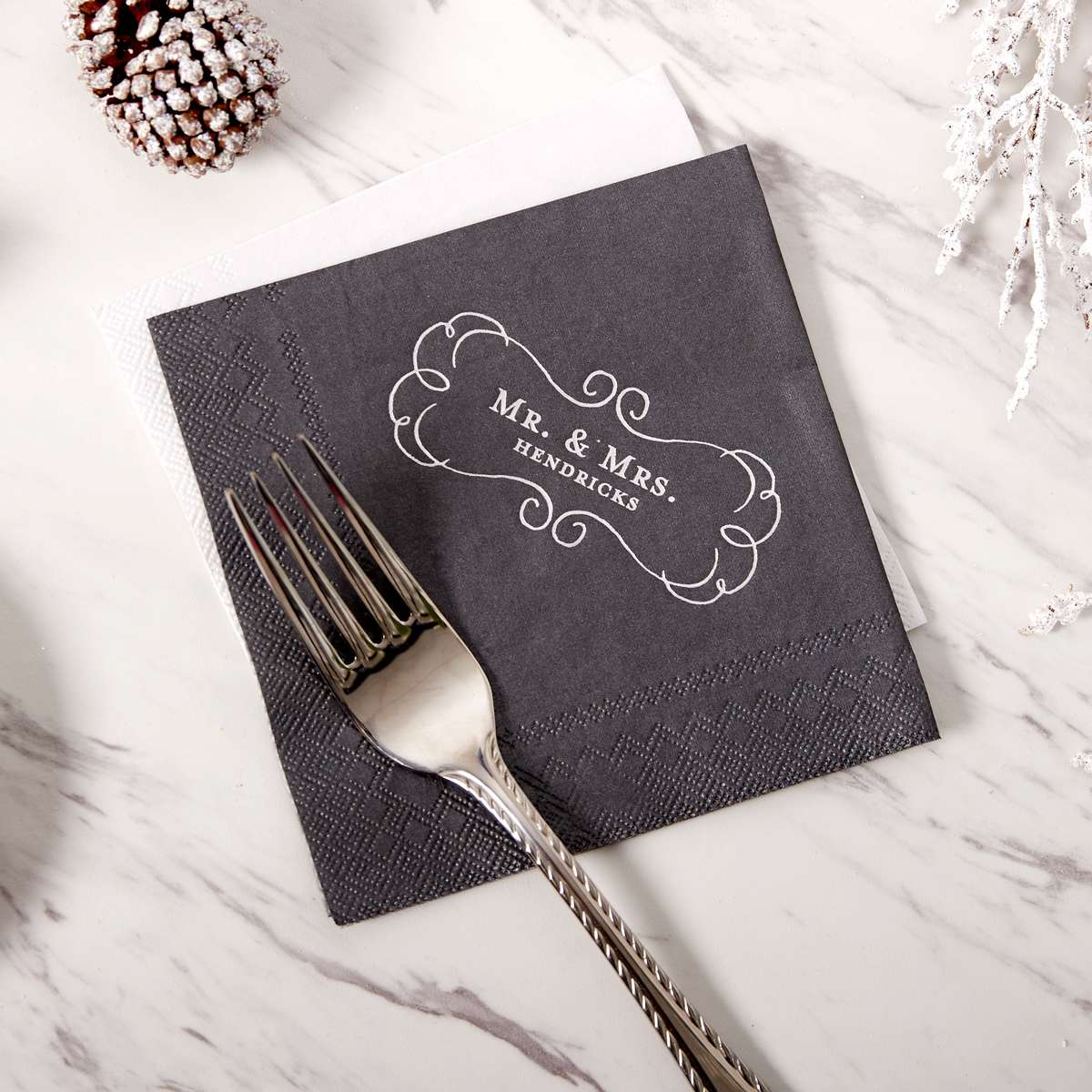 foil stamped wedding napkin
