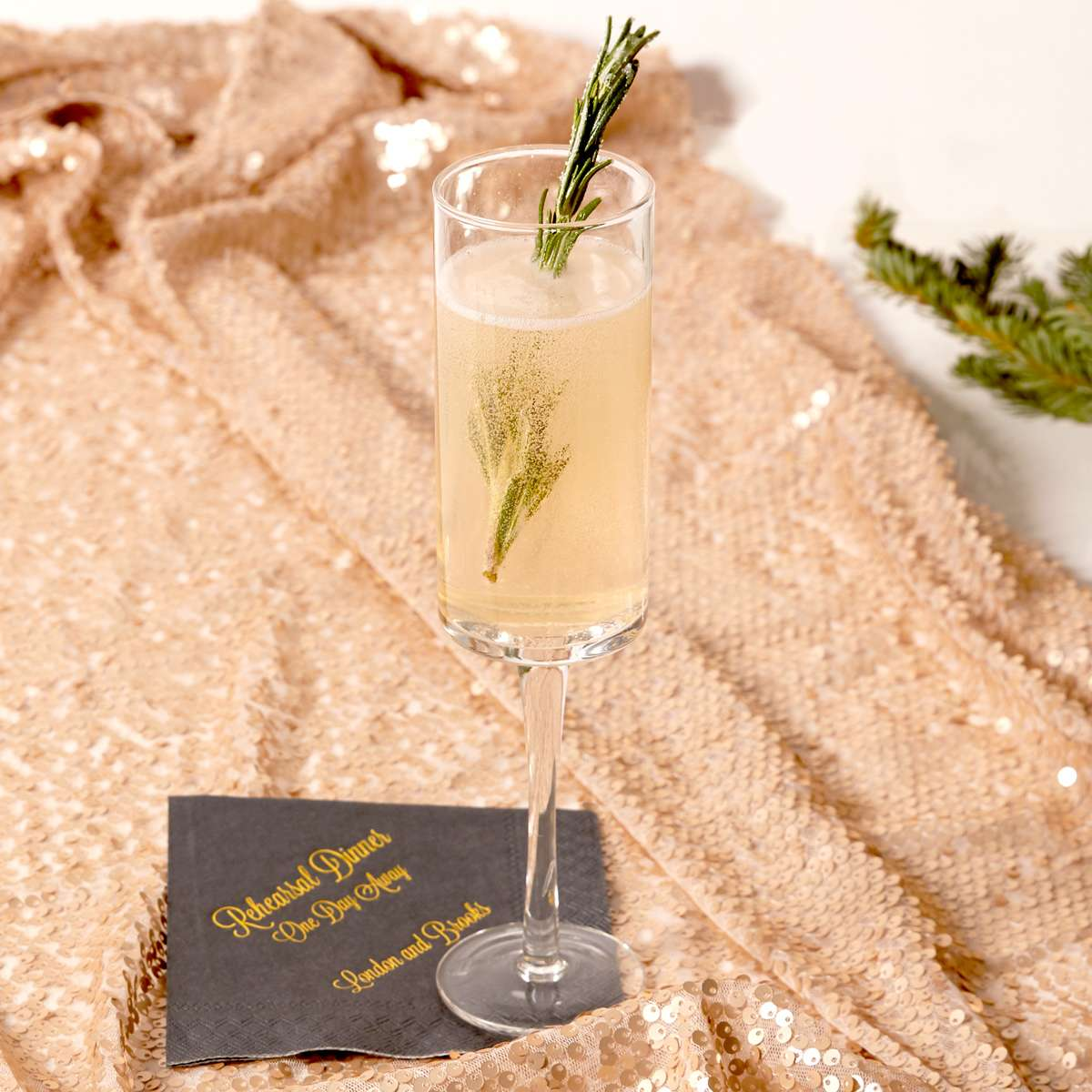 rosemary pear sparkler cocktail