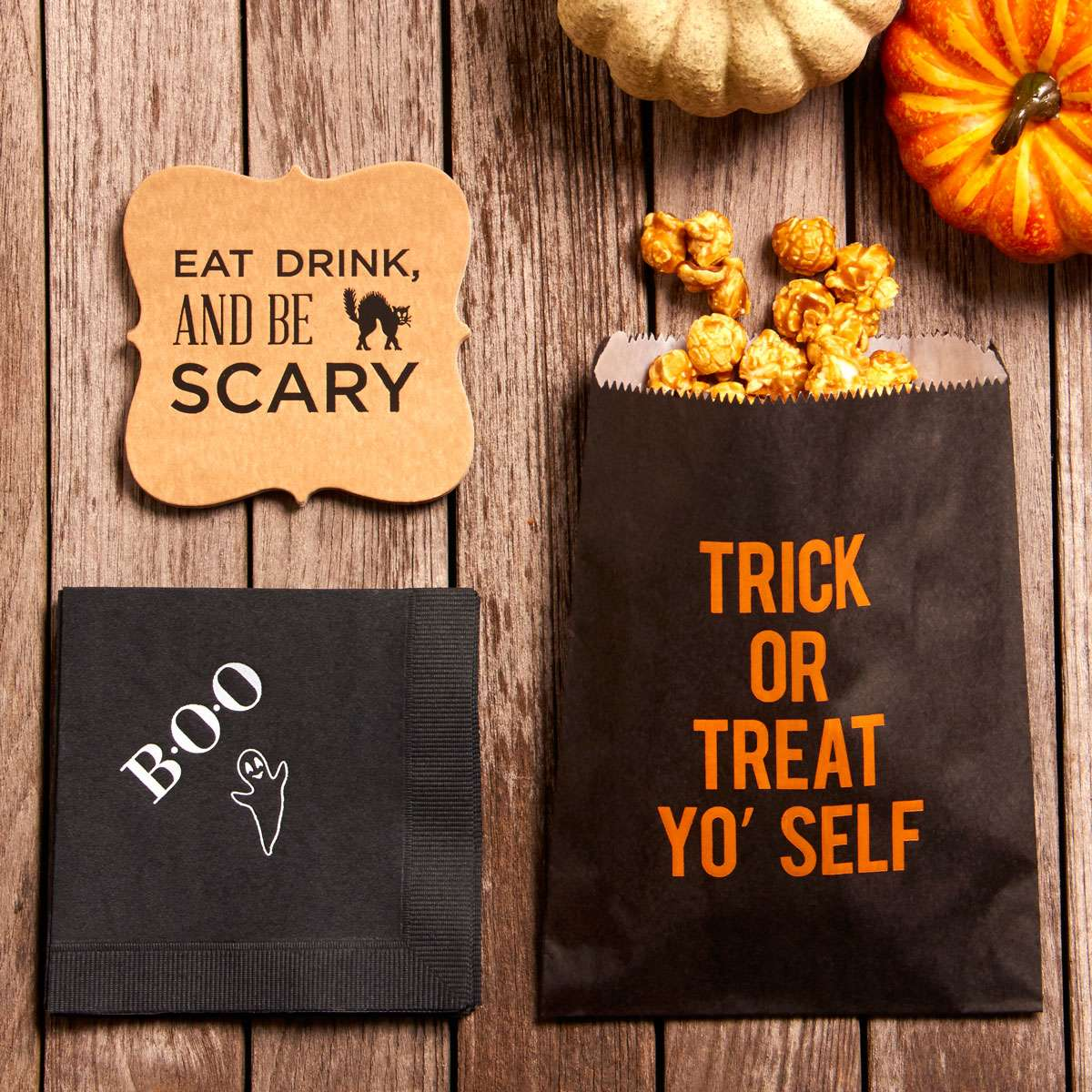 halloween party ideas personalized party favor bags personalized treat bags napkins and coasters